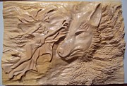 Animal Sculpture Sculpture Posters - Wood carving sculpture - The fairy and the wolf woodcraft woodwork entalhe madeira escultura Poster by Ton Dias