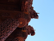 Hand Crafted Art - Wood Carvings of Havali Temple 002 by Lingfai Leung