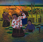 Thai Originals - Wood Cut Texture Of Thai Fishing by Suriya  Silsaksom