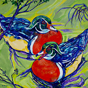 Waterfowl Paintings - Wood Duck 2 by Derrick Higgins