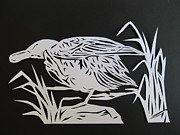 Cut Out Mixed Media - Wood Duck Paper Cut by Alfred Ng