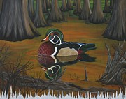 Wood Duck Painting Metal Prints - Wood Duck Metal Print by Terry  Hester
