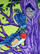 Waterfowl Paintings - Wood Duck Tree by Derrick Higgins