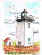 Lighthouses Paintings - Wood End Lighthouse - Massachusetts by Carlos G Groppa
