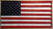 American Flag Mixed Media Originals - Wood Flag Number 1 by Ron Hedges