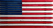 American Flag Mixed Media Originals - Wood Flag Number 2 by Ron Hedges