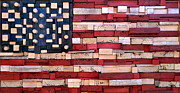 American Flag Mixed Media Originals - Wood Flag Number 3 by Ron Hedges