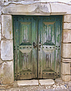 Cobblestone Prints - Wood Green Weathered Castle Door Print by David Letts