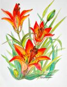 Interior Design Painting Posters - Wood Lily Poster by Virginia Ann Hemingson