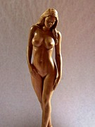 Contemporary Sculpture Sculpture Framed Prints - Wood Sculpture of Naked Woman - Front View Framed Print by Carlos Baez Barrueto