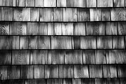Glenn Wood Framed Prints - Wood Shingles Abstract black and white Framed Print by Glenn Gordon