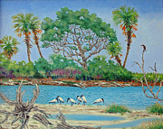 Anhinga Paintings - Wood Stork Beach Party by Dwain Ray