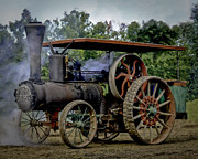 Greyhound Photos - Wood Wheeled Geiser Peerless Steam Tractior by F Leblanc