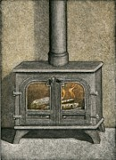 Scratchboard Paintings - Woodburning Fireplace by Sue Kroll