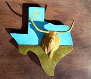 Steer Reliefs - Woodcrafted Home on the Range by Michael Pasko