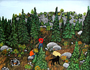 Hauling Originals - Woodcutters and Black Lab by Barbara Griffin
