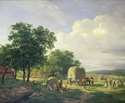 Tall Tree Paintings - Wooded Landscape with Haymakers by Hendrick van de Sande Bakhuyzen