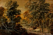 Wooded Paintings - Wooded Landscape with Herdsman and Cattle by Thomas Gainsborough