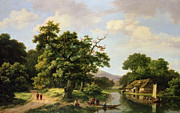 Villagers Framed Prints - Wooded River Landscape with Peasants Unloading a Ferry Framed Print by Marinus Adrianus Koekkoek