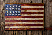 Americana Folk Art Posters - Wooden American flag on wood wall Poster by Garry Gay
