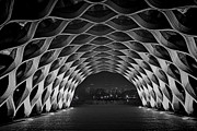 Wooden Building Art - Wooden Archway with Chicago skyline in black and white by Sven Brogren