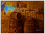 Cellar Prints - Wooden Barrels - Featured in Comfortable Art and Visions of the Night - Digital Veil Groups Print by EricaMaxine  Price
