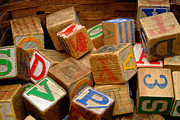Blocks Posters - Wooden Blocks with Alphabet Letters Poster by Amy Cicconi