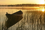 Morning Sunrise Posters - Wooden boat Poster by Veikko Suikkanen
