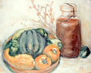 Wooden Bowl Paintings - Wooden Bowl With Vegetables and Sweet Tea by Barbara LeMaster