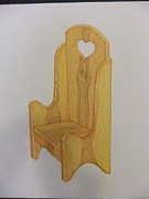 Chair Drawings Framed Prints - Wooden chair Framed Print by Lisa Schulz-Quimby