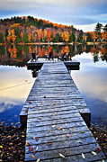Relaxing Photo Prints - Wooden dock on autumn lake Print by Elena Elisseeva