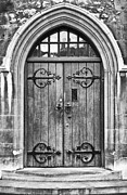Metalwork Framed Prints - Wooden Door at Tower Hill BW Framed Print by Christi Kraft
