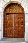 Kirsten Giving Prints - Wooden Doorway in Santa Barbara Courthouse Print by Kirsten Giving