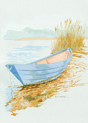Dory Paintings - Wooden Dory at Waters Edge by Elizabeth Whelan