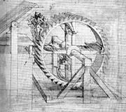 Technical Drawings Posters - Wooden Gears Drawing  Poster by Leonardo da Vinci