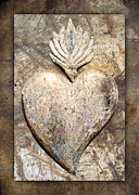 Hispanic Framed Prints - Wooden Heart Framed Print by Carol Leigh