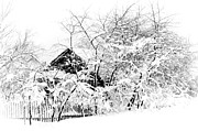 Snow Flakes Prints - Wooden House after Heavy Snowfall. Russia Print by Jenny Rainbow