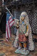 Statuary And Mannequins - Wooden Indian and American Flag NYC by Robert Ullmann