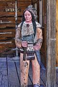 Wood Sculpture Posters - Wooden Indian Poster by Linda Phelps