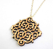 Wood Pendant Jewelry - Wooden Lace Pendant Necklace by Rony Bank