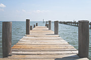 La Porte Framed Prints - Wooden Pier in Shoreacres Texas Framed Print by Angela Bonilla