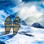 Winter Landscape Digital Art Prints - Wooden Snowshoes  Print by Bob Orsillo