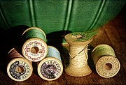 Sewing Notions Prints - Wooden Spools Print by Karen  Burns
