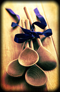 Ribbon Framed Prints - Wooden Spoons Framed Print by Christopher and Amanda Elwell
