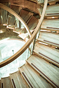 Stair Case Posters - Wooden staircase Poster by Tom Gowanlock