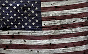 Fourth Of July Prints - Wooden Textured USA Flag3 Print by John Stephens