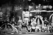 Berlin Germany Prints - wooden toys behind glass window of a stall at spandau christmas market Berlin Germany Print by Joe Fox
