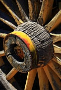 Spoked Wheel Prints - Wooden Wagon Wheel Print by Ron Pniewski