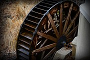 Country Scene Framed Prints - Wooden Water Wheel Framed Print by Paul Ward