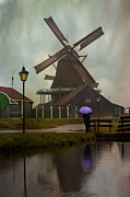 Zaans Posters - Wooden Windmill in Holland Poster by Juli Scalzi